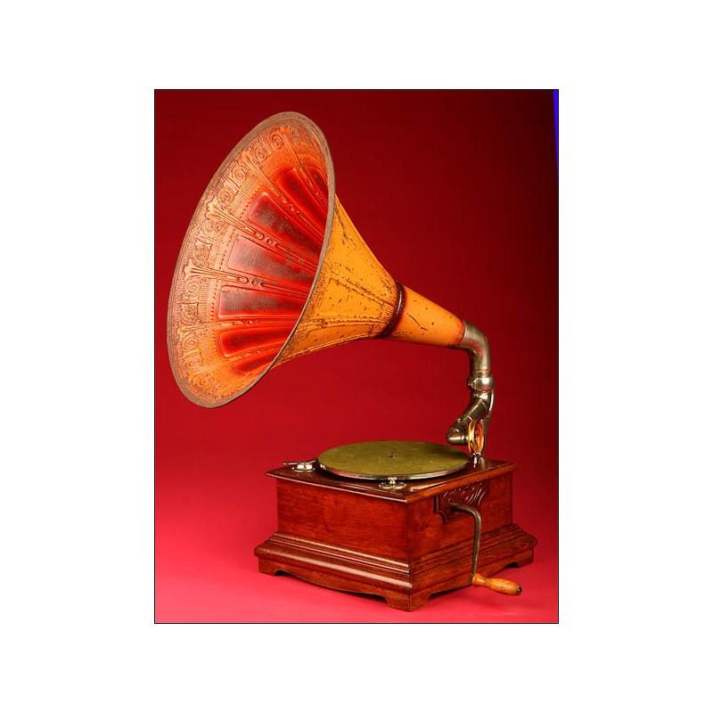 Gramófono Alemán Estilo Jugendstil en Perfecto Estado. Ca.1900