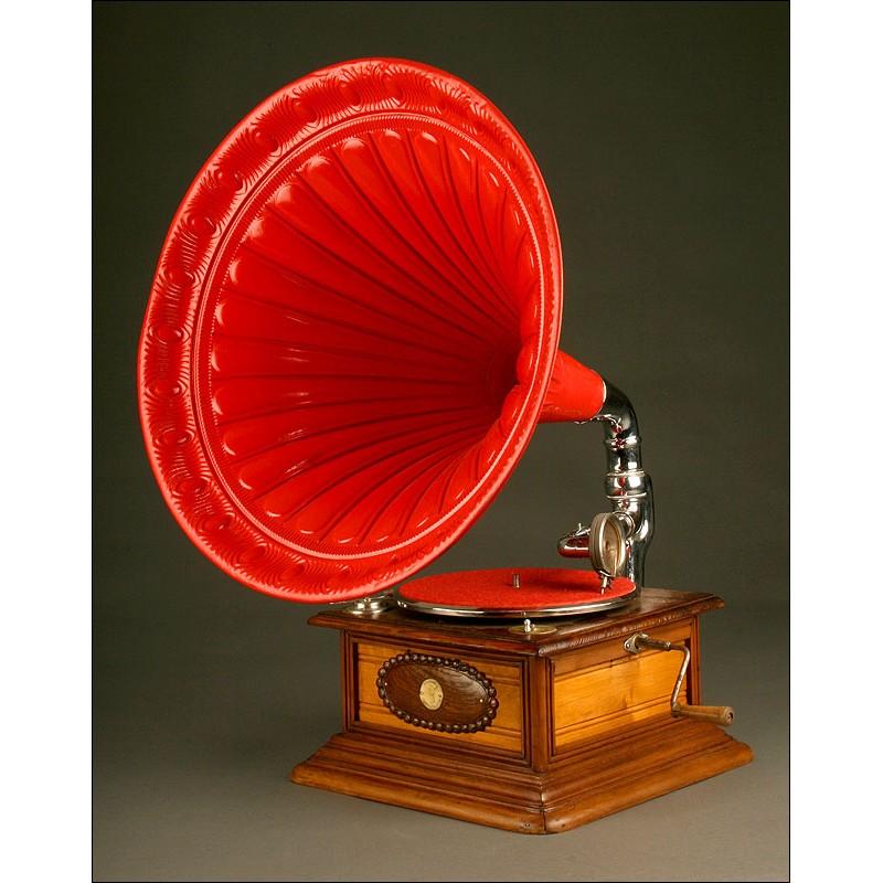 Impresionante Gramófono Alemán Polyphon, Ca. 1.915. Totalmente Restaurado y Funcionando