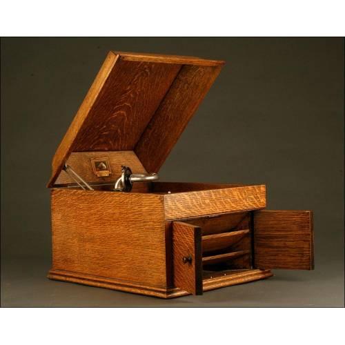 Gramófono La Voz de Su Amo de los Años 20. Con Freno Automático y Excelente Sonido