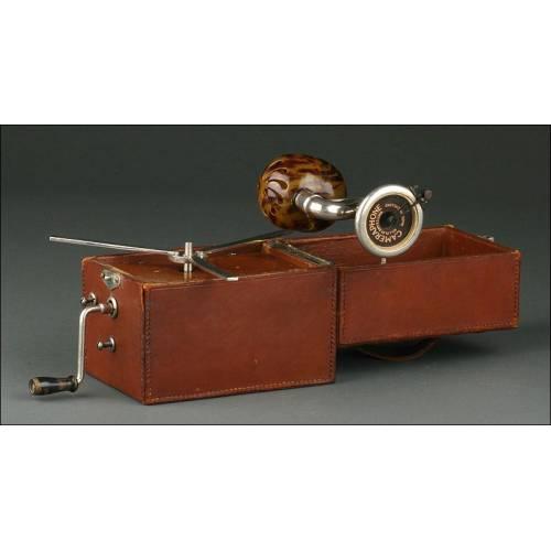 Gramófono de Viaje Cameraphone Fabricado en Inglaterra en los Años 20. Funcionando y en Buen Estado