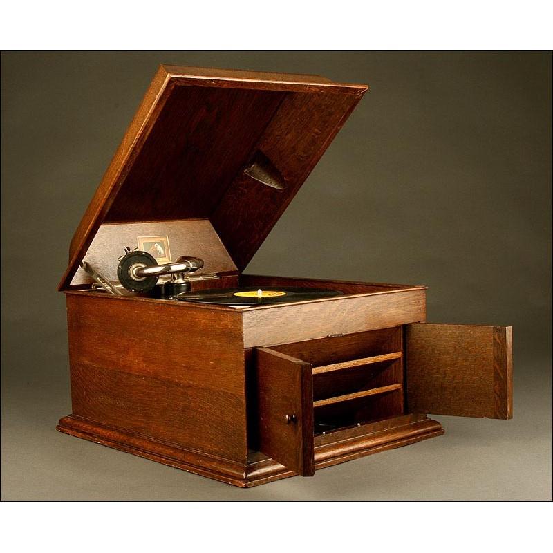 Elegante Gramófono La Voz de Su Amo. Años 20. Completamente Original. Sonido Excelente