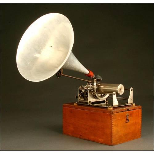 Antiguo Fonógrafo Pathé de 1915. Bien Conservado y Con Excelente Sonido