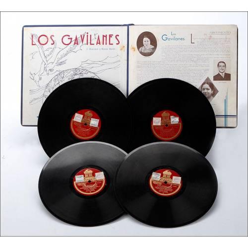 """Álbum con 4 Discos de Gramófono. 78 rpm. J. Guerrero y Ramos Martín. Zarzuela """"Los Gavilanes"""" Completa. Álbum Original."""