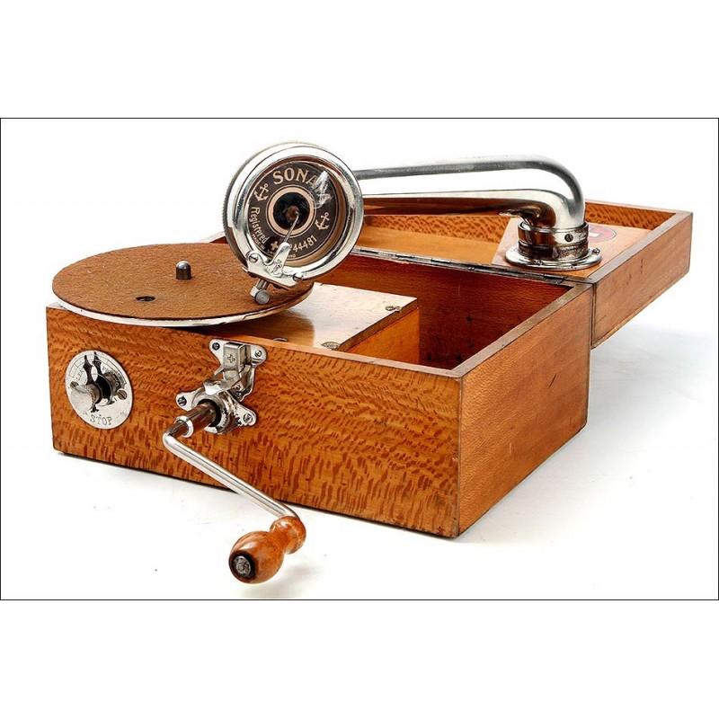 Antiguo Gramófono Portátil Thorens Sonata Funcionando Muy Bien. Suiza, Circa 1920