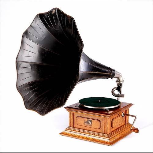 Bellísimo Gramófono de Trompeta La Voz De Su Amo, Monarch IV. Inglaterra, 1913