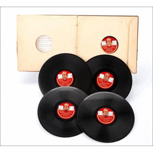 """Álbum con 5 Discos de Gramófono. Luna y Frutos. Zarzuela """"Molinos de Viento"""" Completa. Álbum Original"""