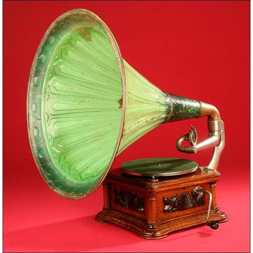 Gramófono Typewrter La Voz de su Amo modelo Monarque nº 9 en perfecto estado. Ca. 1906-1907.