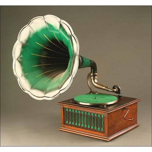 Gramófono de Trompeta Pathé, Francia, Año 1915, Modelo Día y Noche