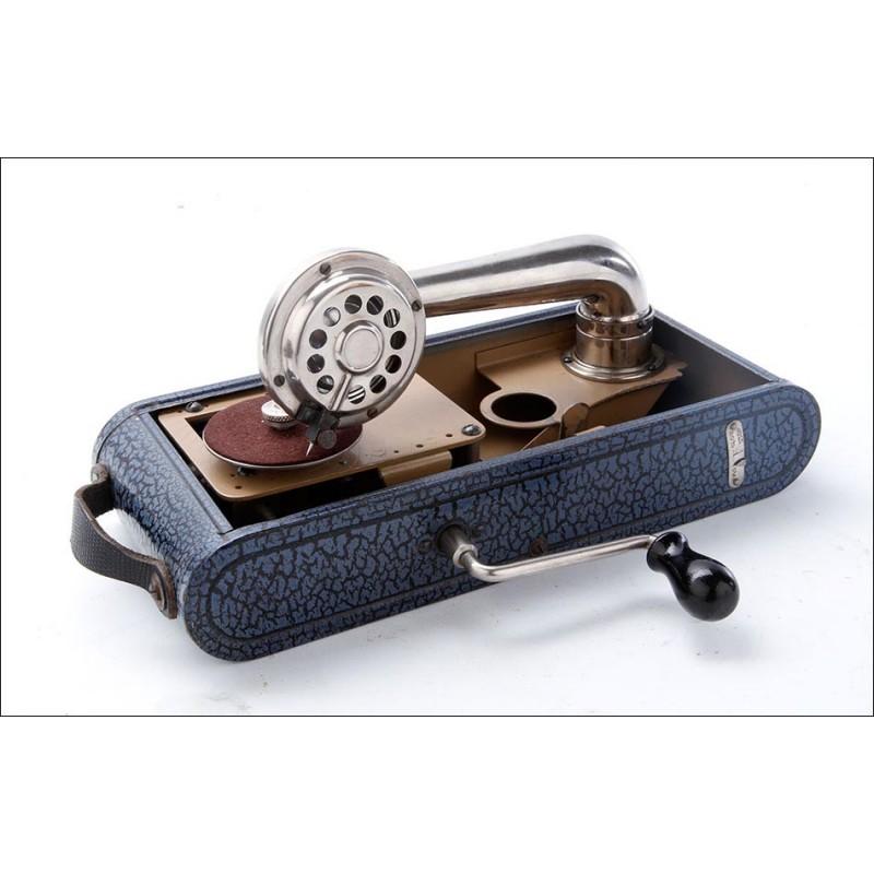 Antiguo Gramófono Portátil Excelda Thorens Funcionando. Suiza, Años 30 del S. XX