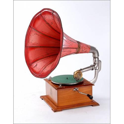 Antiguo Gramófono de Trompeta Odeon con Muy Buen Sonido y Fabricado en Alemania, Circa 1920
