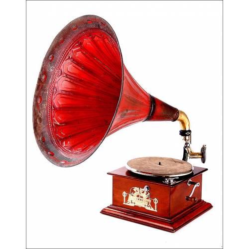 Antiguo Gramófono de Trompeta con Espectacular Sonido. Centroeuropa, Circa 1910
