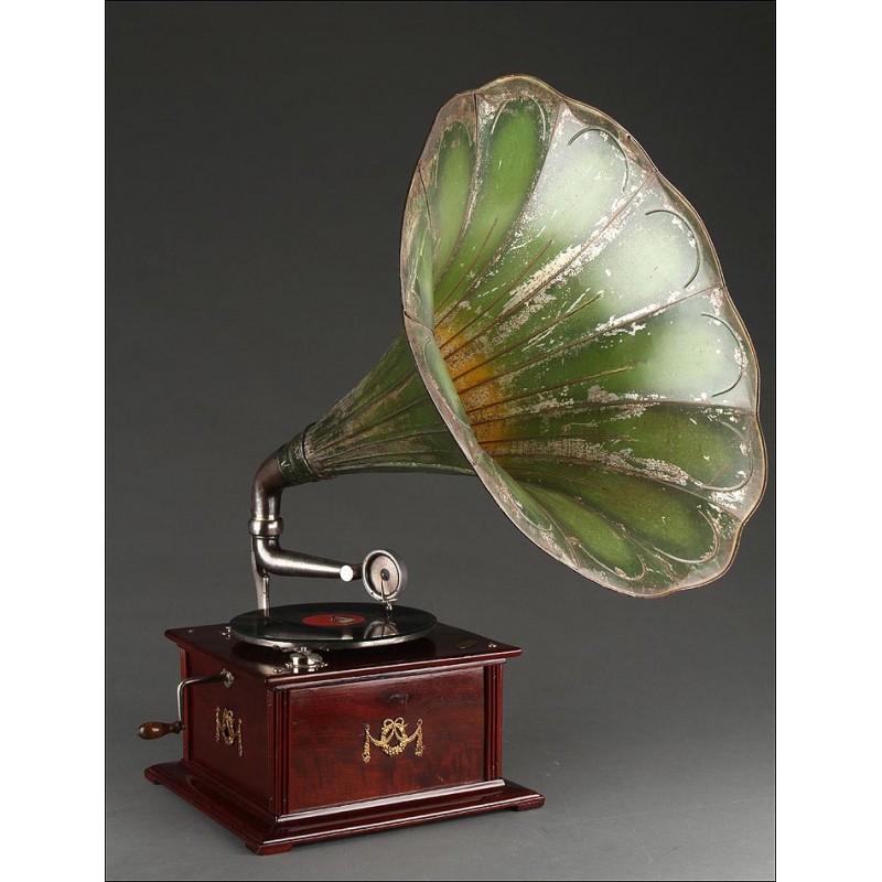 Raro y Atractivo Gramófono Parlophone para Zurdos del Año 1910. Funcionando