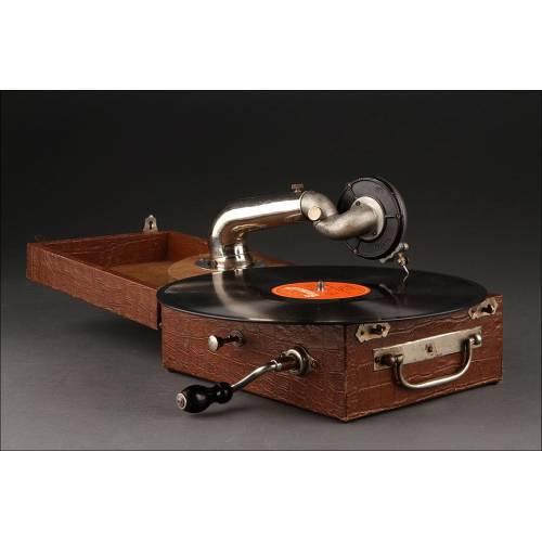 Gramófono Portátil Fabricado en 1910. Funcionando Perfectamente. Suena Muy Bien