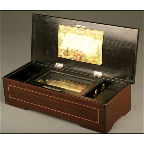 Caja de Música Suiza para 6 Melodías con Mecanismo de Cilindro, ca.1800-1900.