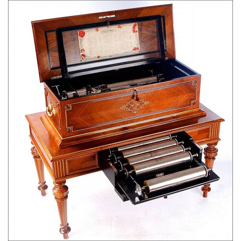 Impresionante Caja de Música sobre Mueble. Funciona muy Bien. Suiza, Circa 1890