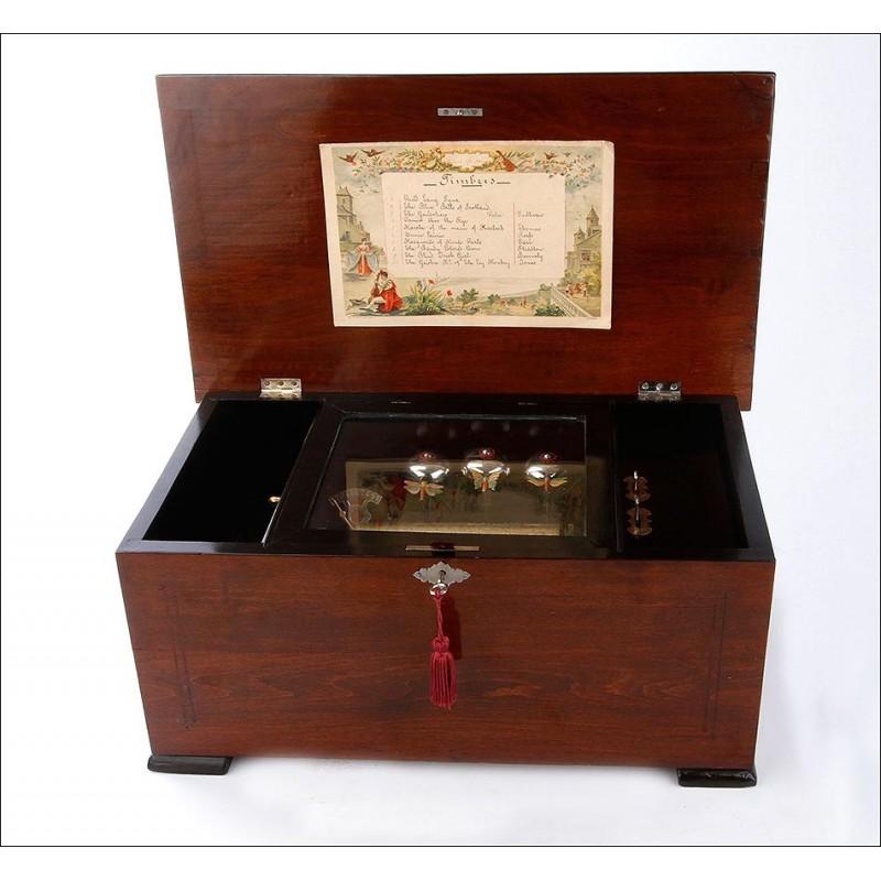 Antigua Caja de Música con Mariposas Autómatas y en Funcionamiento. Suiza, Circa 1890