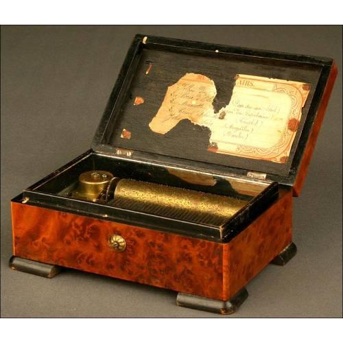 Preciosa Caja de Música en Madera de Raíz con 6 Melodías, ca. 1880. 32 notas. ¡Peine completo!