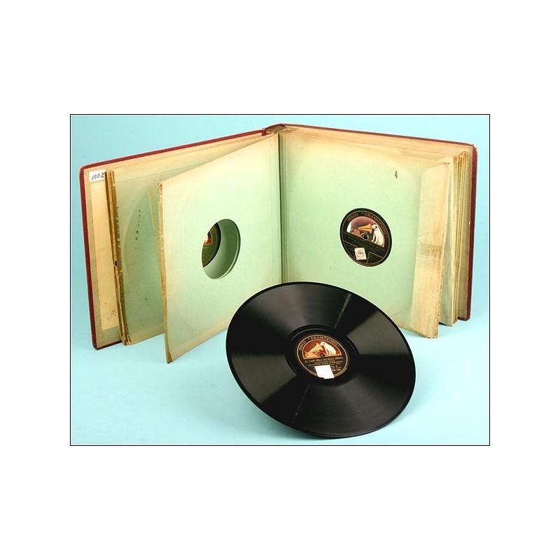 ORIGINAL album con 12 discos de pizarra españoles para gramófono. Música popular catalana.