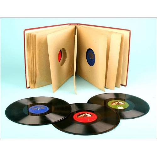 IMPECABLE Album con 12 discos de pizarra españoles/variado para gramófono