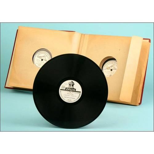 Album con 12 discos de pizarra para gramófono