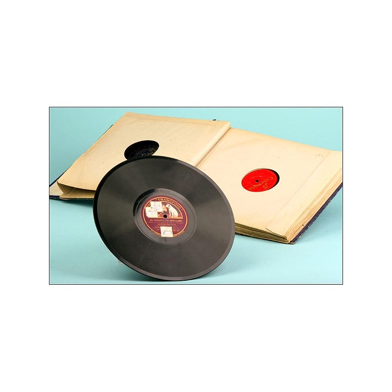CURIOSO Album con 12 discos de pizarra españoles/variado para gramófono