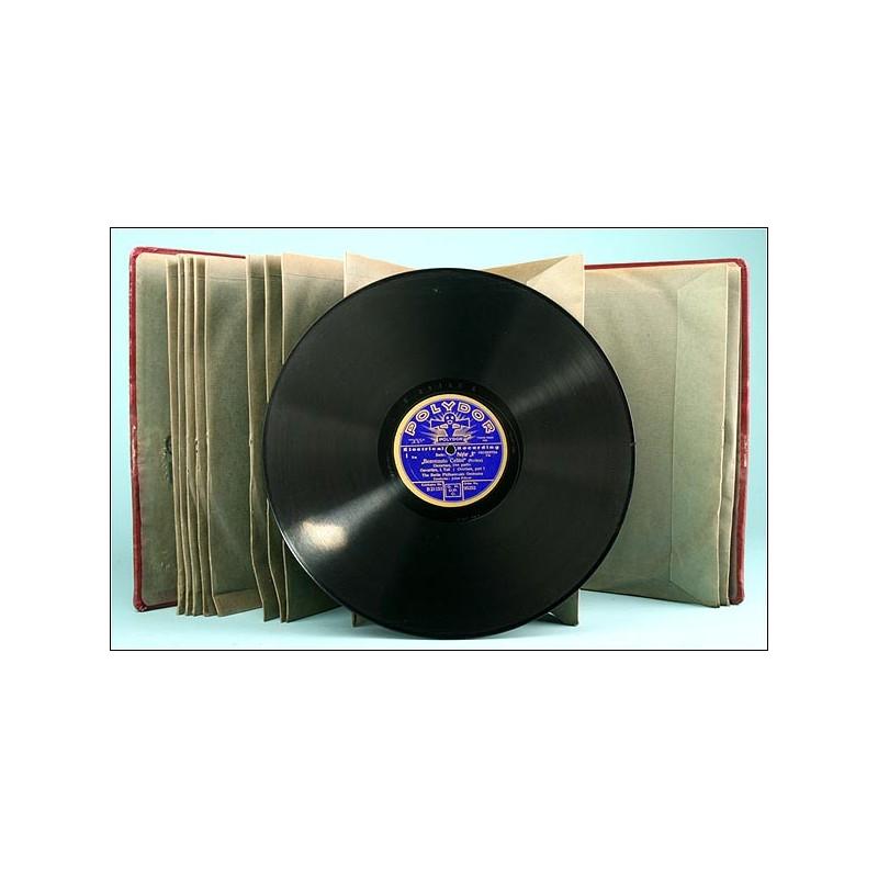 ORIGINAL album con 12 discos de pizarra europeos para gramófono. Música clásica