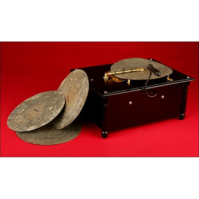 Antiguo Organillo Alemán de Madera del Año 1.900. Funciona Muy Bien. Con Cuatro Discos
