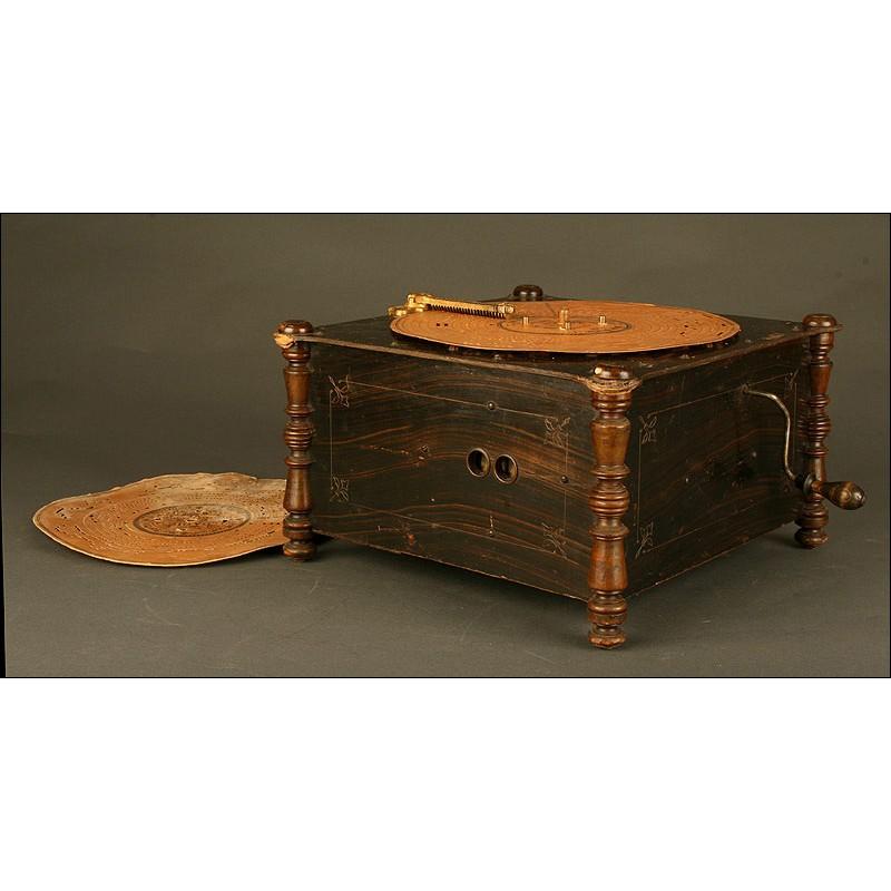 Organillo Antiguo Ariston del Año 1890. Con Discos de Cartón. Funciona Perfectamente