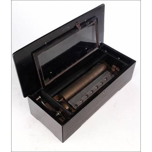 Antigua Caja de Música de 103 notas. Gran Tamaño y en Funcionamiento. Suiza, Siglo XIX