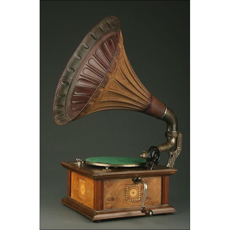 Gramófono Alemán Marca Odeon, Circa 1920. Completamente Original. Funcionando a la Perfección