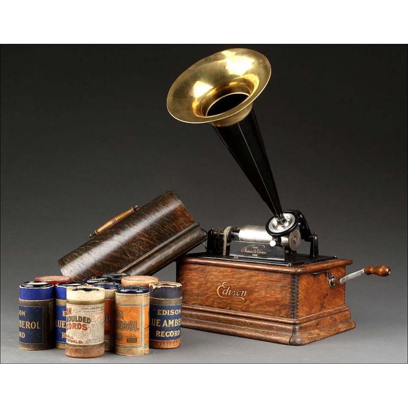 Fonógrafo Edison Original Fabricado Circa 1900. Funcionando Perfectamente y con Diez Cilindros