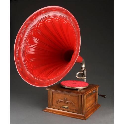 Fantástico Gramófono de Trompeta de Origen Alemán. Circa 1910. Funcionando Muy Bien