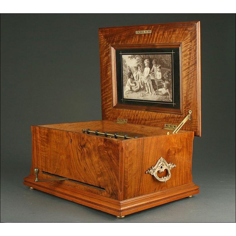Gran Caja de Música Suiza de Madera, 1890. Magníficamente Conservada y Funcionando Muy Bien