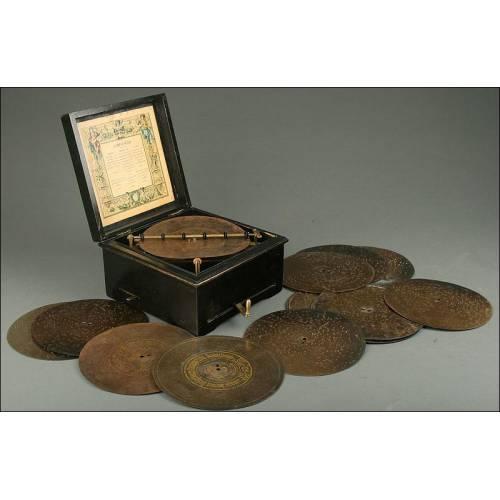 Caja de Música Alemana Symphonion del Año 1890. En Buen Estado y Funcionando de Maravilla