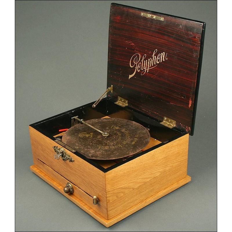 Caja de Música Alemana Polyphon con 6 campanillas de 1880. En Muy Buen Estado de Conservación y Funcionamiento