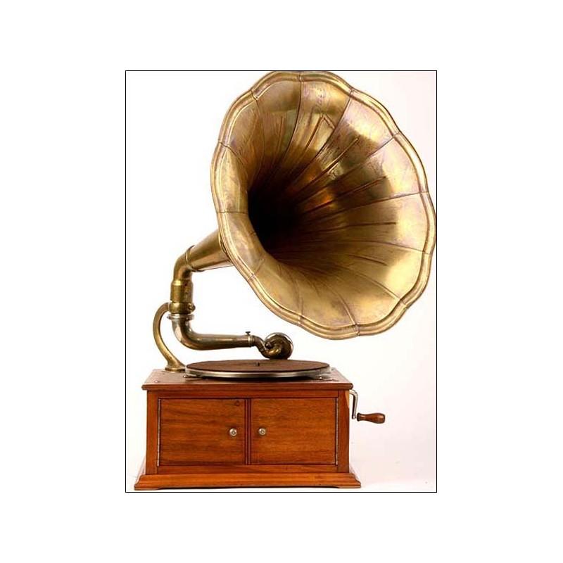 Gramófono de trompeta Pathé Día y Noche. 1915