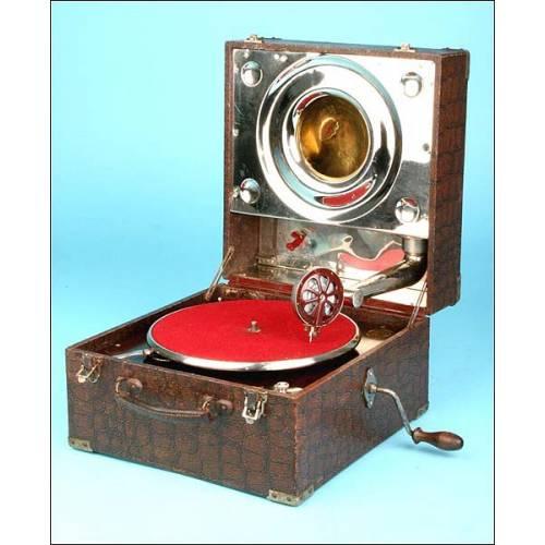Gramófono de maleta reflex Polyphon Musik