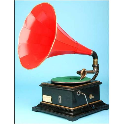 Gramófono de bocina Phot-O-Phone. Circa 1915