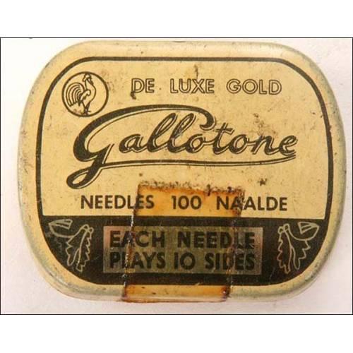 Caja de 100 agujas para gramófono Gallotone. Precintada.