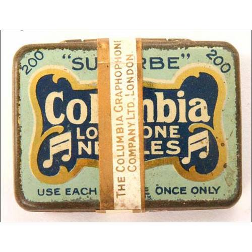 Caja de 200 agujas para gramófono Columbia. Tono alto. Precintada