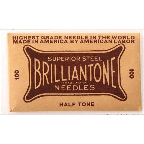 100 agujas para gramófono Brilliantone. Tono medio.