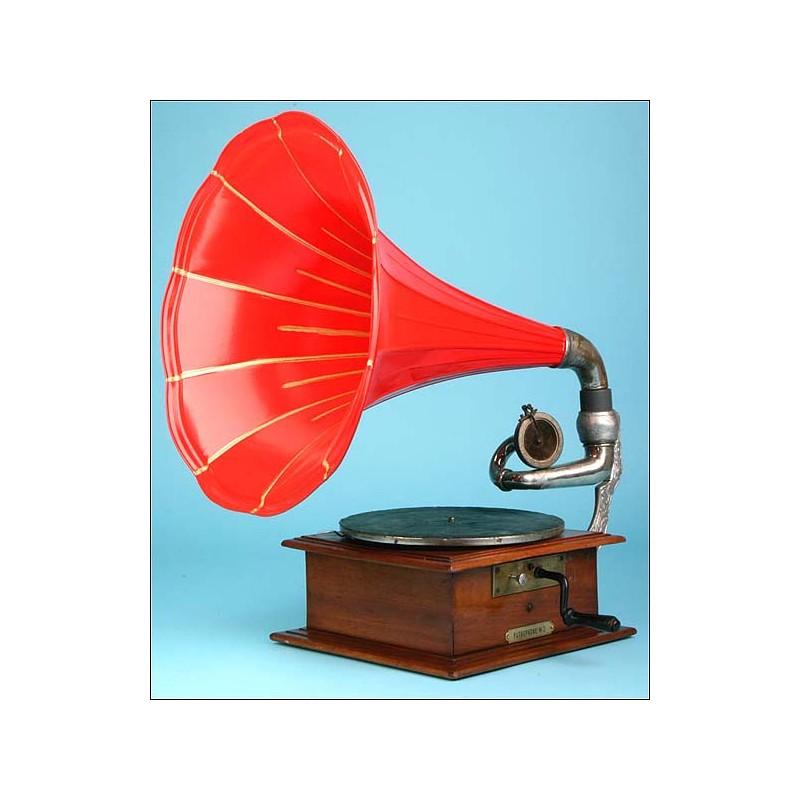 Gramófono de trompeta Pathephone, nº2. 1907.