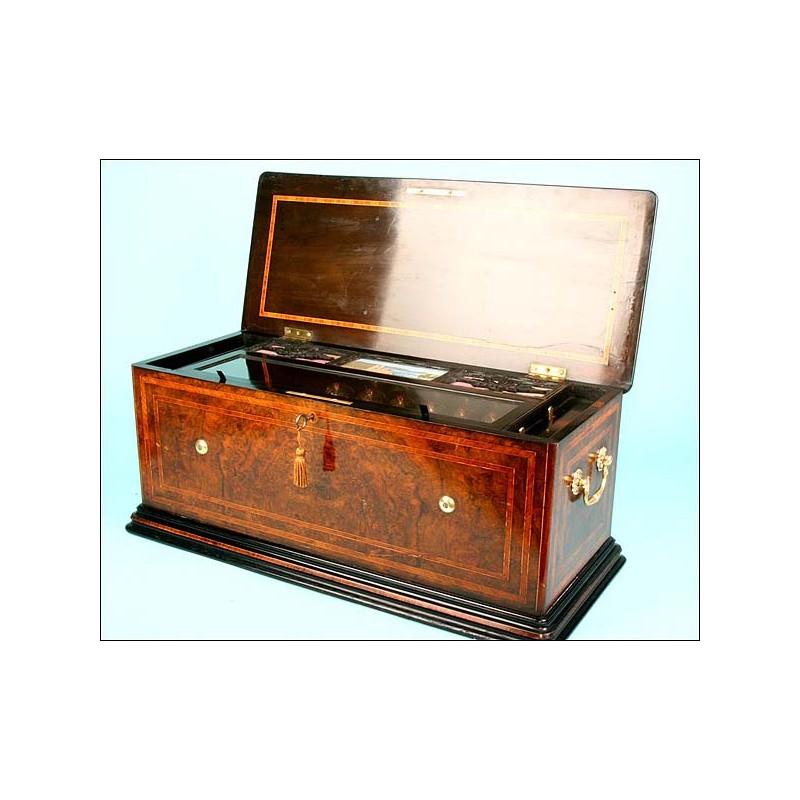 Enorme caja de música Suiza con campanillas. ¡78 cms! 1870
