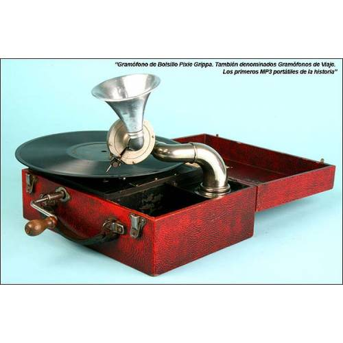 Gramofono de viaje  Pixie Grippa, C.1924.