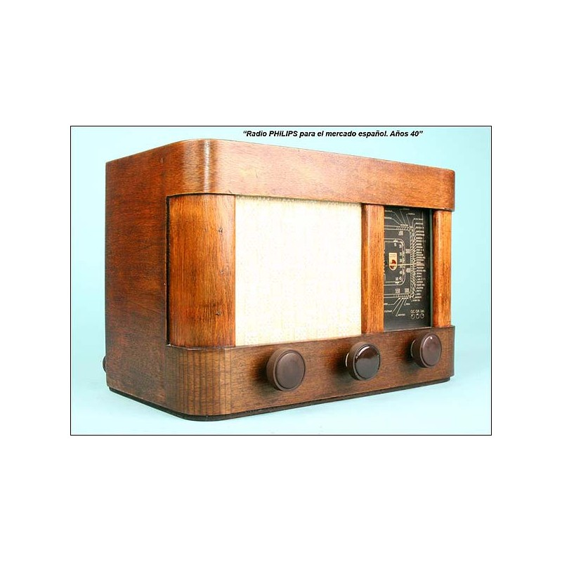 Radio Philips mercado español mod.35-U 35 w,110 vlt.C.1940.