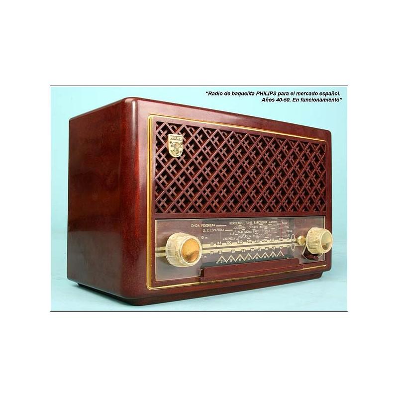 Radio Philips mercado español.C1940-1950.110 voltios.