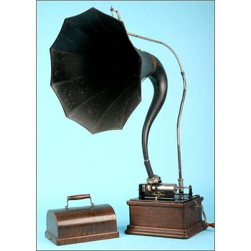 Fonógrafo Edison Fireside modelo A, con trompeta cygnet