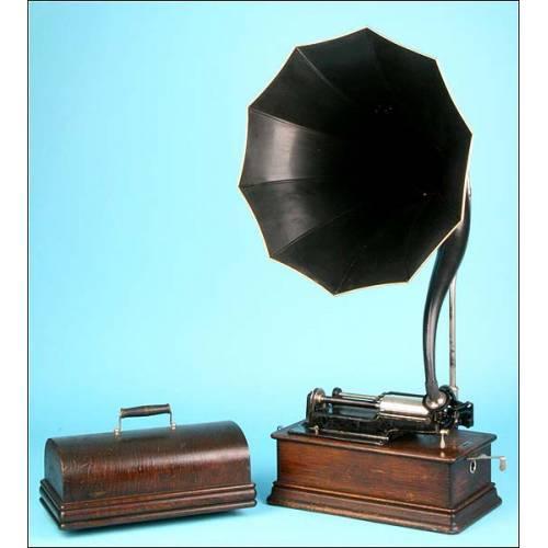 Fonógrafo Edison Home modelo C , con trompeta cygnet