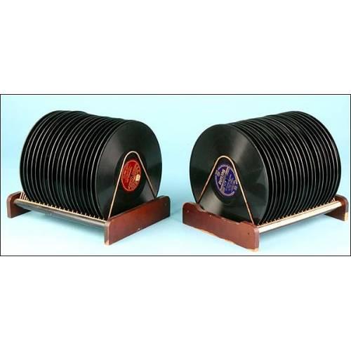 Lote de 2 guarda discos de época para discos de gramófono