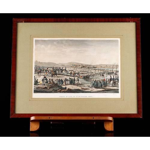 Precioso Grabado de Época Representando la Toma de Ulm. Color Original. Francia, 1820